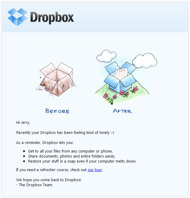 marketing directo ejemplos Dropbox
